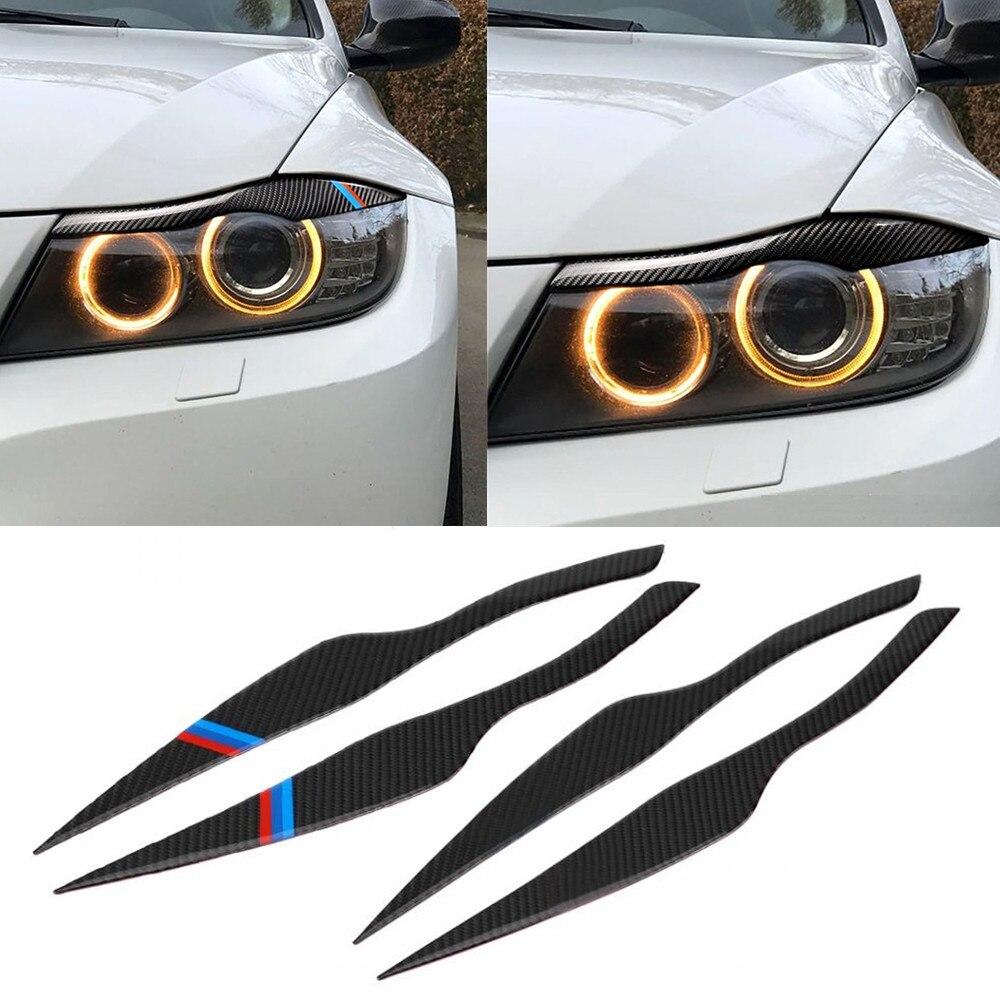 2Pcs/Set Carbon Fiber Car Headlight Eyebrows Eyelid Cover Decoration Car Stickers For BMW 3 Series E90 E91 F30 F34 2006- 2011