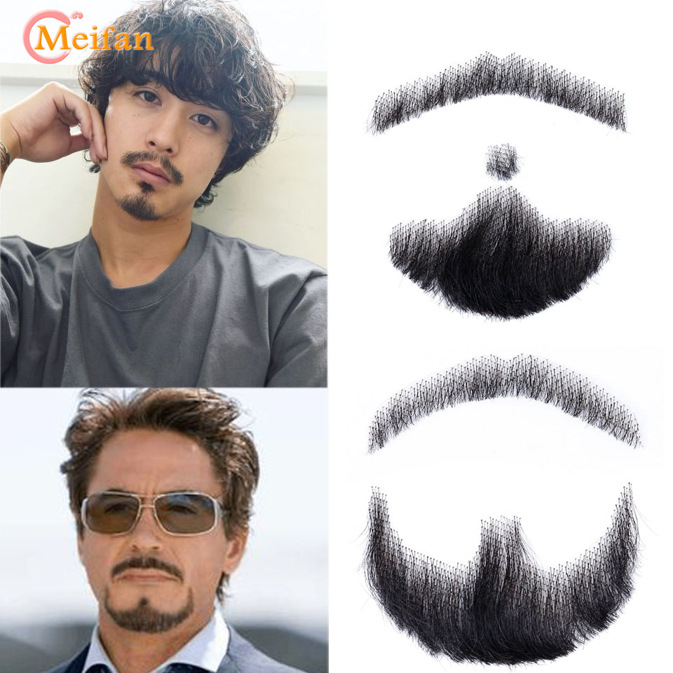 MEIFAN Lace Beard Natural Fake Beard For Men Mustache Hand-made Cosplay Synthetic Lace Invisible Beards