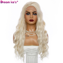 Long Curly Synthetic Lace Front Wigs for Women 13*4 Frontal Lace Water Wave Hair Wig Free Parting for White 2021 Dream ice's