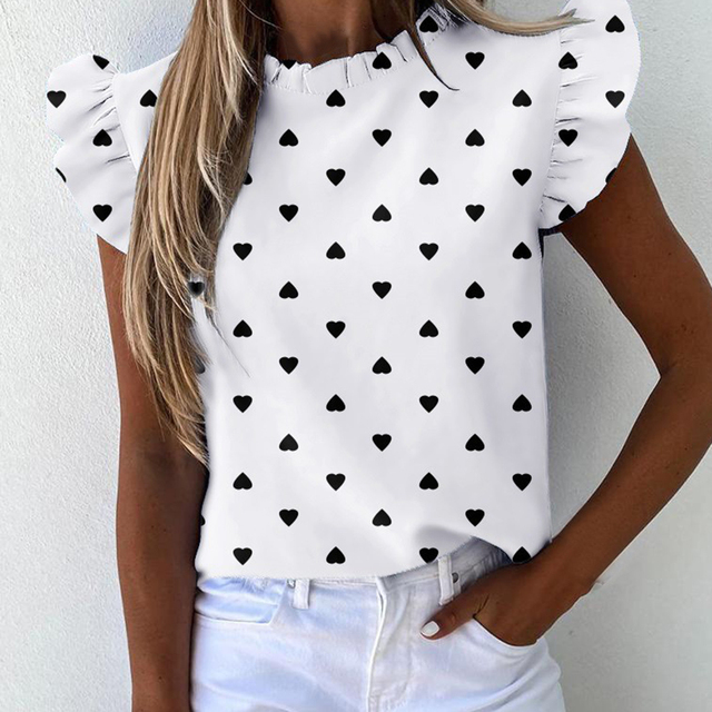 Hot Sale 2021 New Short Sleeve Round Neck Print Shirt Female Fashion Plus Size Pullover Clothes Women's Summer Ruffle Blouse 3