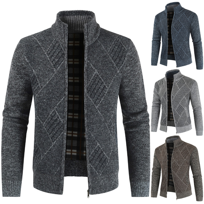 Mens Cardigan Sweater Coats Stand-Collar Knitted Zipper Fleece Autumn Warm Casual title=