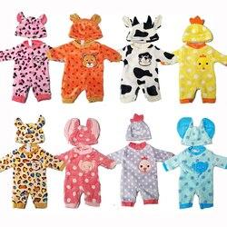 Кукольная одежда для детей 43 см, комплект одежды с героями мультфильмов для девочек 18 дюймов, одежда с милыми животными