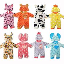 цены Doll clothes for 43cm Baby dolls clothes cartoon set for 18 inch girl doll cute animal clothes