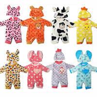 Vestiti per le bambole per 43 centimetri bambole Del Bambino vestiti del fumetto set per 18 pollici bambola della ragazza animale sveglio vestiti