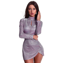 купить Bandage Dress Women Female Autumn High Collar Long Sleeve Mini Dress Boho Women Clothes Solid Color Sexy Women Fashion Clothes по цене 734.68 рублей