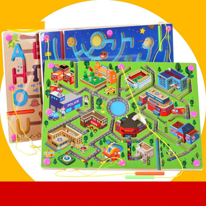Children Magnetic Puzzle Labyrinth Game Toy Kids Wooden Maze Game Toy Baby Early Educational Brain Teaser Intellectual Toys