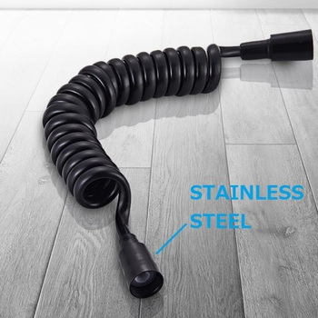 Matowa czarna wiosna elastyczny wąż chowany do głowicy prysznicowej bidet prysznic fajka wodna tanie i dobre opinie Z tworzywa sztucznego G1 2 Węże hydrauliczne