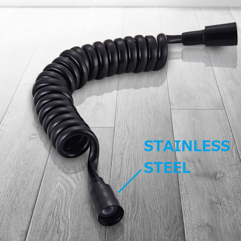 Matt Black Spring Flexible Retractable Hose For Shower Head Toilet Bidet Shower Water Pipe