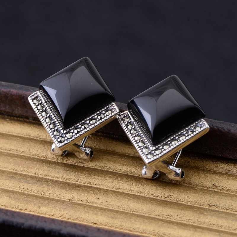 อุปทานโดยตรง S925 เงินสเตอร์ลิงต่างหูหู STUD-Style สีดำธรรมชาติอาเกตโมเสคแหวนหู Rhombus หูคลิป