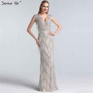 Image 2 - Ruhigen Hill Silber Perlen Quaste Luxus Abendkleider Kleider 2020 Kappe Ärmeln Meerjungfrau Elegant Für Frauen Party LA60830