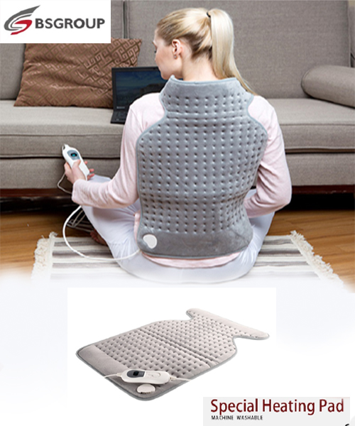 Bellavie 63*42 CM Electric Cosy Fleece Heating Pad For Cushion And Neck And Back Warmer For Heat Therapy Pain Relief(220V EU)