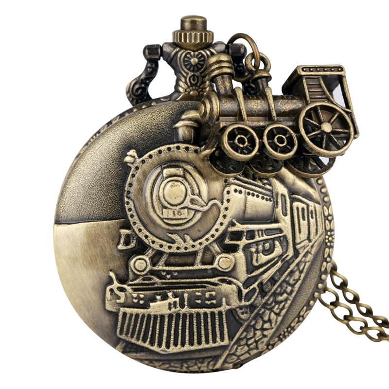 Vintage Bronze Quartz Pocket Watch Train Locomotive Engine Necklace Pendant Chain Best Gifts For Men Women With Train Accessory