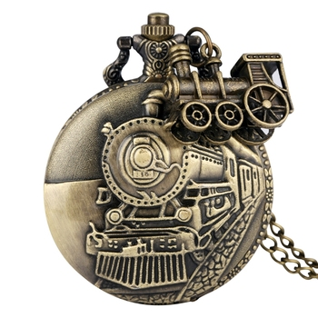 Vintage Bronze Quartz Pocket Watch Train Locomotive Engine Necklace Pendant Chain Best Gifts for Men Women with Train Accessory house stark of game of thrones house theme pendant pocket watch with necklace chain best gift for fans of american drama