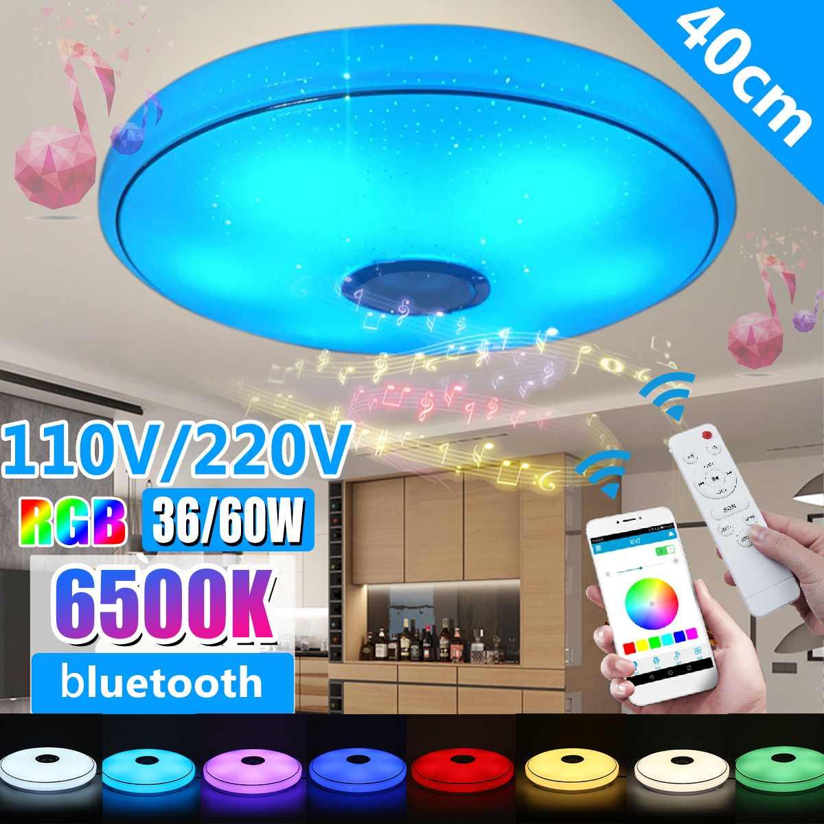 Luces LED RGB modernas para el techo iluminación del hogar 36W 60W aplicación bluetooth música lámpara de dormitorio lámpara de techo inteligente + Control remoto