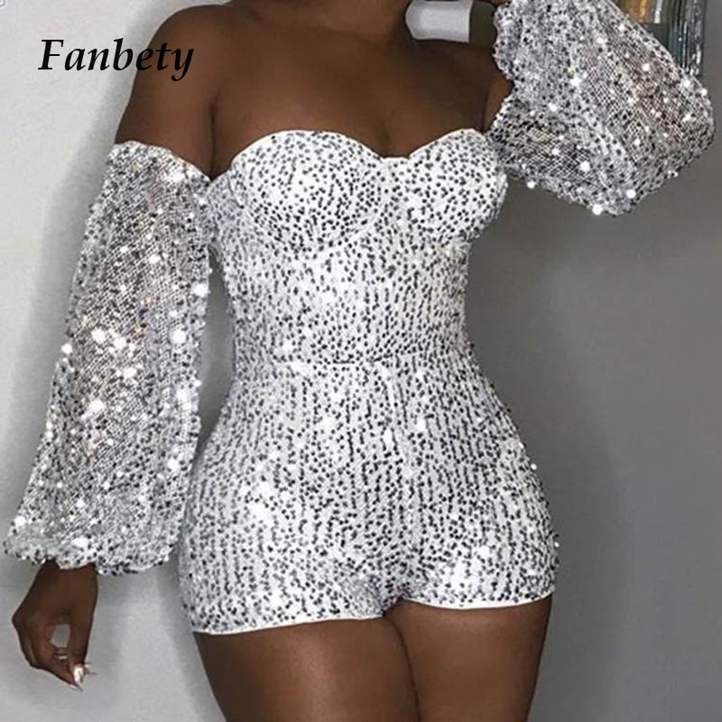 Fanbety Women Glitter Sequin strapless Rompers Overalls Lady Autumn Lantern Long Sleeve Playsuit   Jumpsuit   Slim Bodycon clubwear
