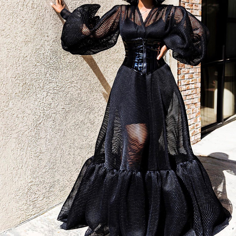 Black 2 Pieces Dress Mesh See Through Lanten Sleeves V Neck For Women Spaghetti Strap Bodycon Dresses Transparent Two Pieces Set