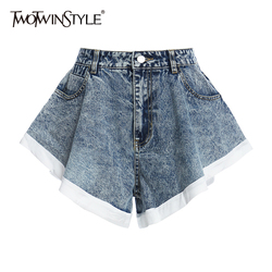TWOTWINSTYLE Elegant Women Denim Shorts High Waist Patchwork Hit Color Ruffles Shorts For Female Fashion Clothes 2020 Summer New