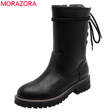 MORAZORA 2020 di vendita calda delle donne della caviglia stivali zip lace up autunno inverno tacchi quadrati stivali piattaforma di modo punk scarpe casual femminile