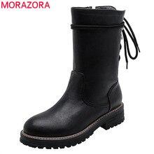 Morazora 2020 Bán Nữ Mắt Cá Chân Giày Zip Phối Ren Thu Đông Gót Vuông Đế Giày Bốt Thời Trang LALANG Giày nữ