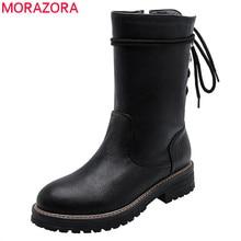 Morazora 2020 venda quente mulheres tornozelo botas zip rendas até outono inverno saltos quadrados plataforma botas moda punk sapatos casuais feminino