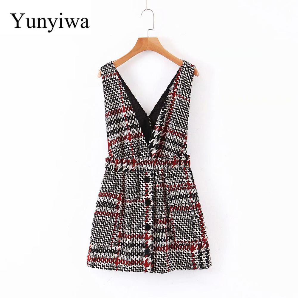 2020 Women Vintage Houndstooth Plaid Print Vest Skirt Overalls Elastic Waist Vestidos Chic Casual Mini Suspender Skirt