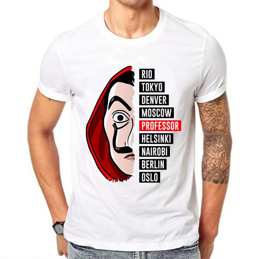 Camisa dos homens T Projeto Engraçado Camiseta de La Casa de Papel Dinheiro Assalto T Série de TV Camisetas Homens de Manga Curta casa de Papel T-Shirt