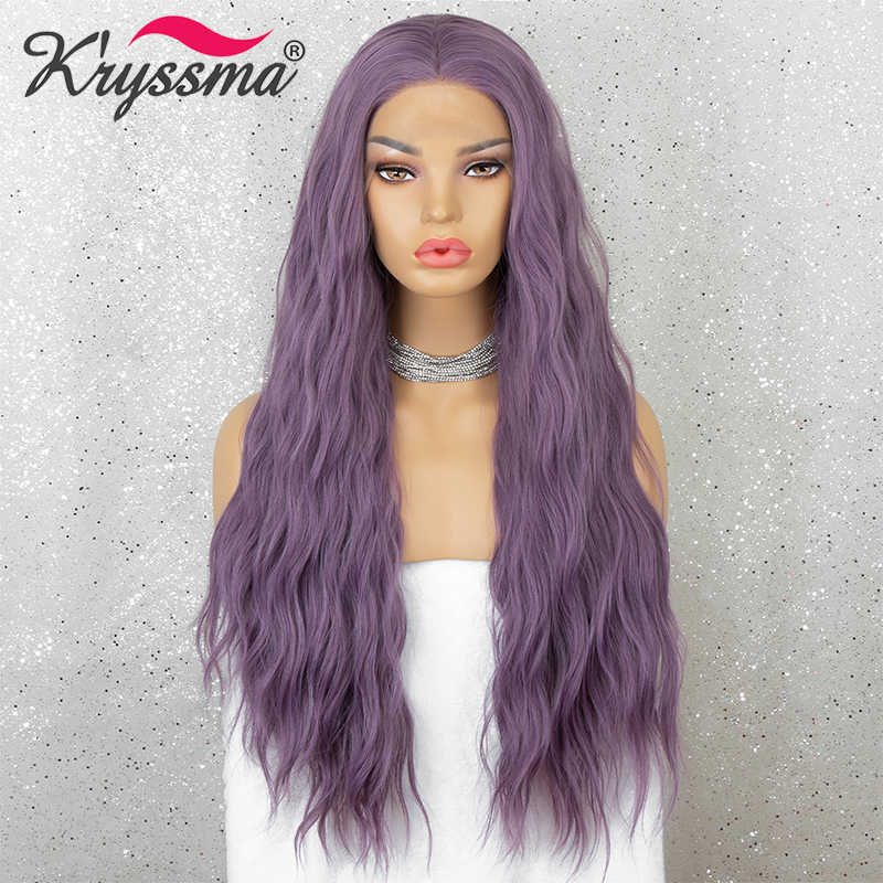 Kryssma, peluca con malla frontal, color rojo cobrizo, rosa, púrpura, marrón, pelucas sintéticas de ondas largas para mujeres, pelucas para Cosplay, fibra resistente al calor