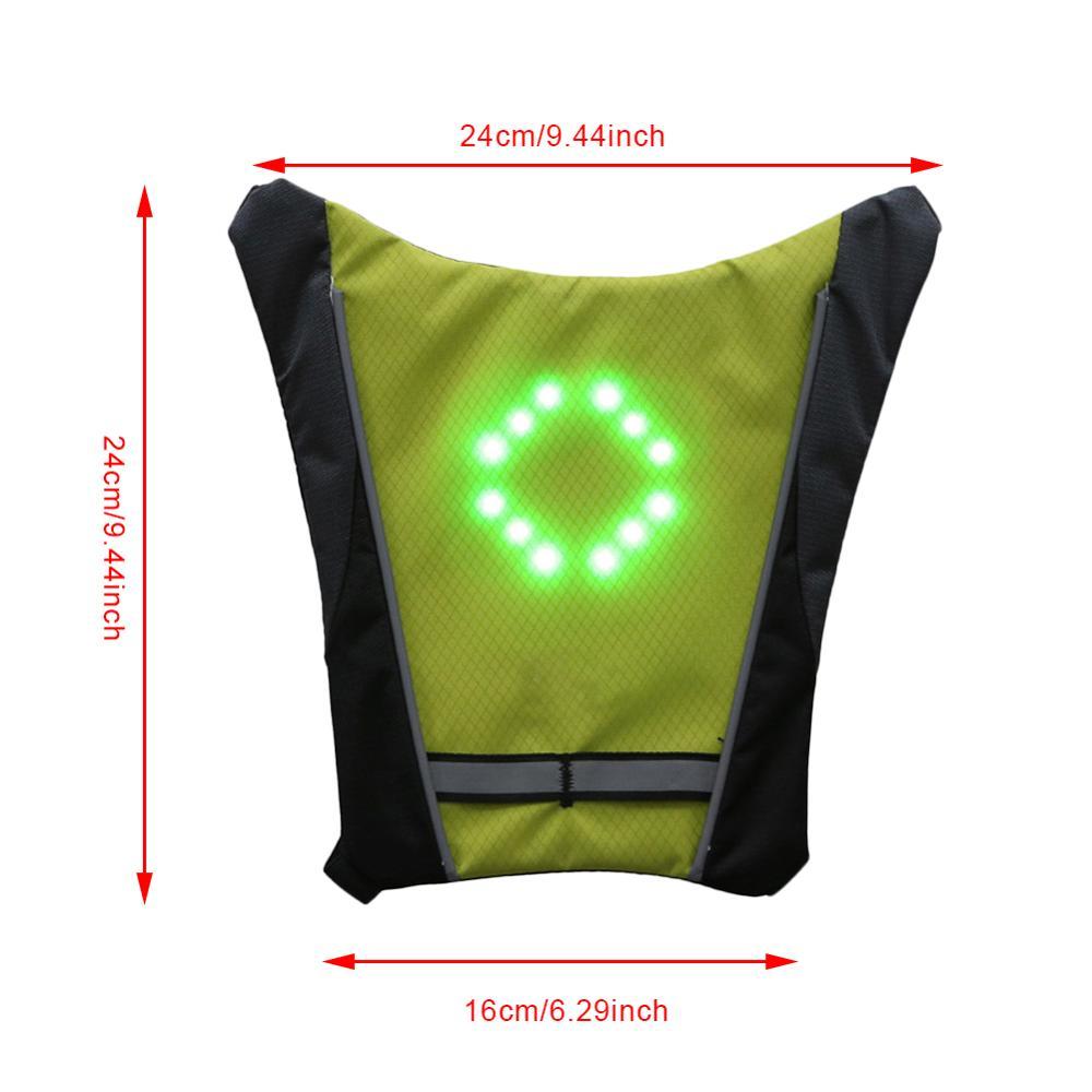 Nouveau 2020 LED sans fil cyclisme gilet 20L vtt vélo sac sécurité clignotant LED gilet vélo réfléchissant avertissement gilets avec Remo