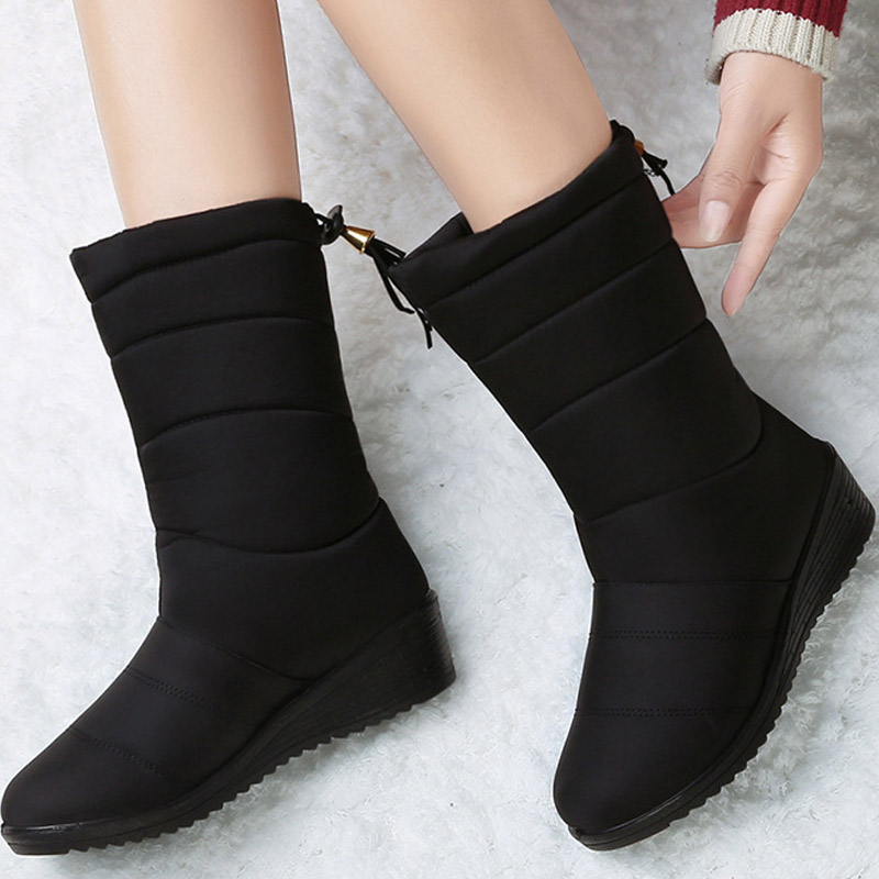 Waterproof Winter Boots Female Shoes Mid-Calf Down Boots Women Warm Ladies Snow Bootie Wedge Rubber Plush Botas Mujer 2021