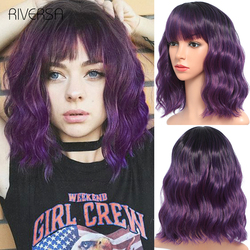 Synthetic Wigs Short Wavy Wig with Bangs 14inches Natural Hair Blond Purple Pink Colored Lolita Wigs perruque For Women Riversa
