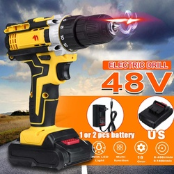 Professional 48V 2 Speed Cordless Drill Electric Screwdriver Mini Wireless Power Driver DC Lithium-Ion Battery+LED Working Light
