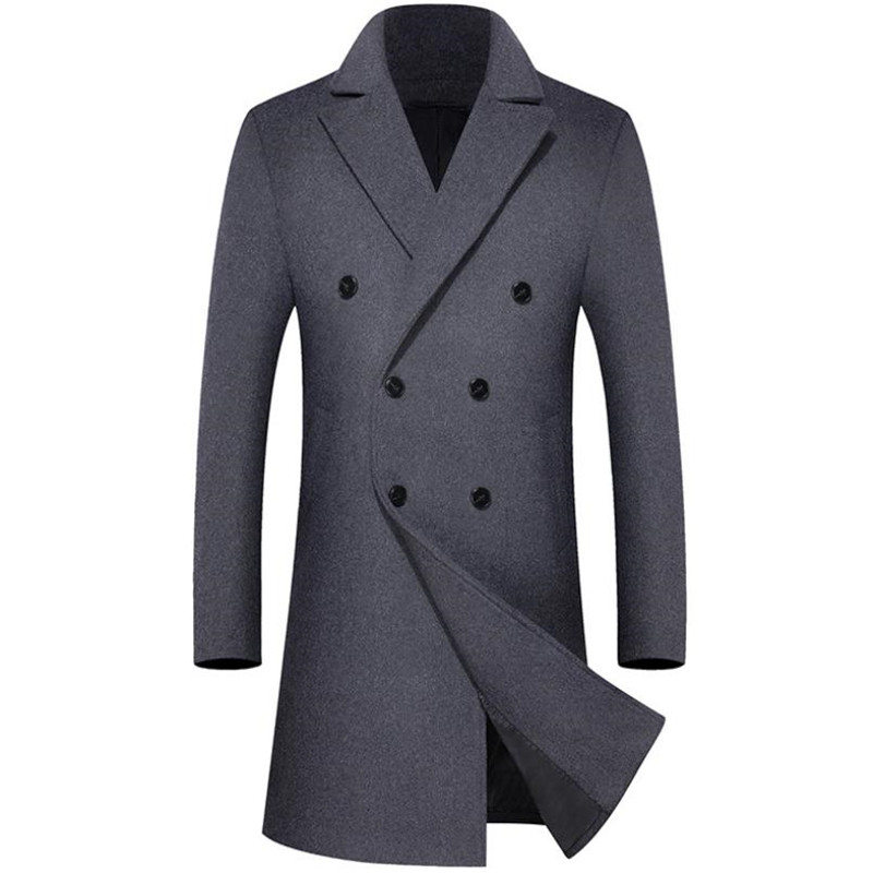 Winter high-grade men's wool coat high-quality fabric long coat business casual large size solid color windbreaker jacket title=