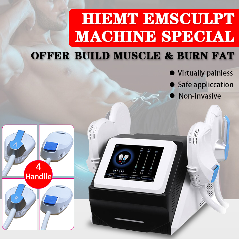 New 4 handles Arms and abdomen EMslim HI-EMT machine Muscle Stimulation EMS electromagnetic fat burning shaping beauty equipment