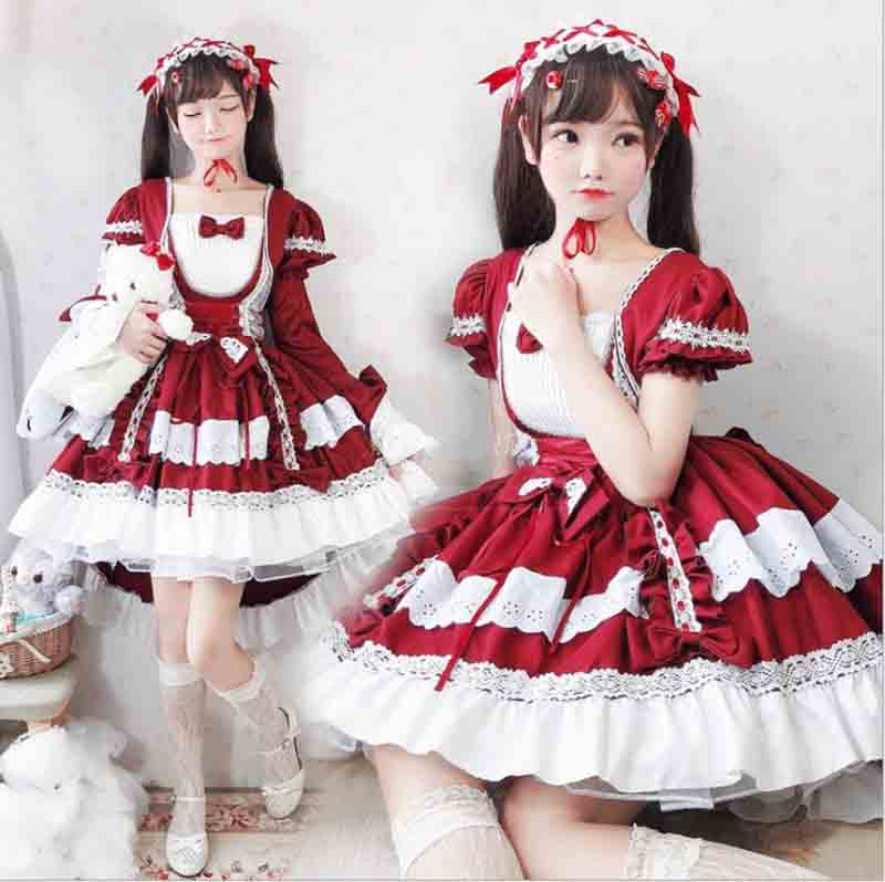Gothic Lolita Dress Girls OP Removable Long Sleeve Lolita Dress Female Cosplay Maid Costume Red Lolita For Women Girls Plus Size
