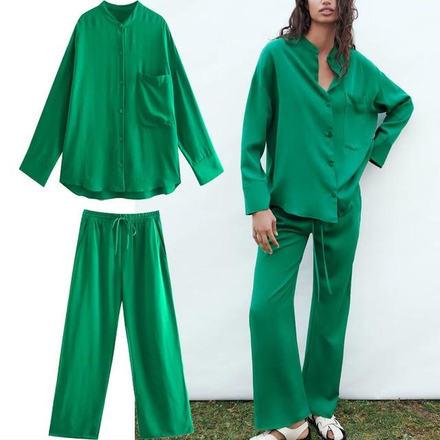 Za 2021 Green High Waist Pants Women Adjustable Elastic Drawstring Waist Vintage Trousers Woman Casual Summer Wide Leg Pants 1