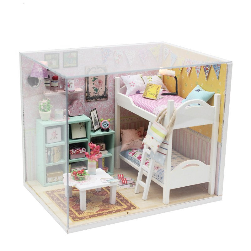 Free Dust Cover Mini Doll House Diy Wooden House Miniatures Kit  Kids Dollhouse Accessories Poppenhuis Bed Maquette Maison