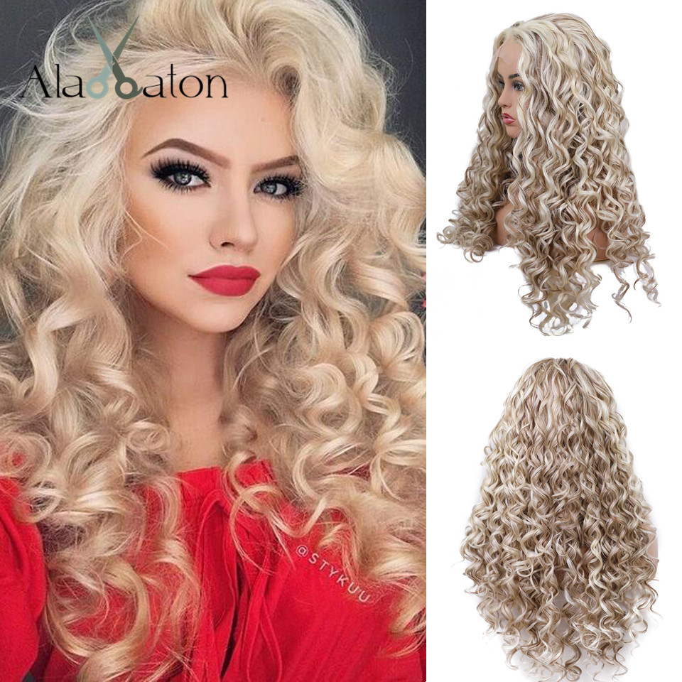 ALAN EATON Synthetic Lace Front Wigs for Black Women Long Soft Loose Wave Hair Mixed Light Blonde Brown Heat Resistant Hair