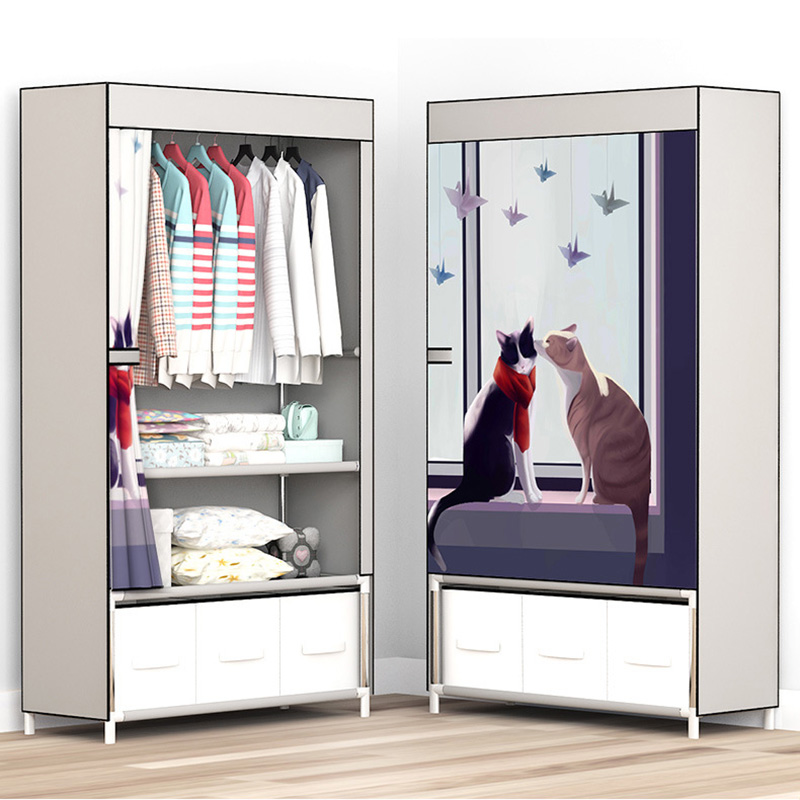 Armoire d'assemblage Simple avec tiroir armoire de rangement vêtements organisateur poussière étanche à l'humidité placard chambre meubles JC049