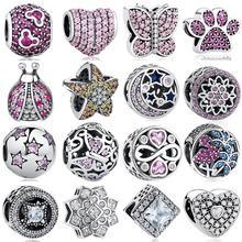 Belawang сердце стерлингового серебра 925 Кристалл Талисманы след бабочка Бусины подходят Pandora браслет DIY ювелирных