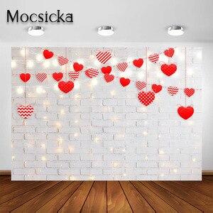 Image 3 - Mocsicka fotografia tło walentynki miłość serce deska drewniana cegła zdjęcie tła Studio na wesela dzieci noworodka