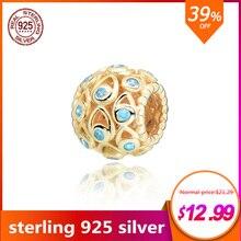 цена на New 925 Sterling Silver Bead Deep Blue Sea Charm Beads Fit Original Pandora Bracelets Women DIY Jewelry 2019 New Original Gift