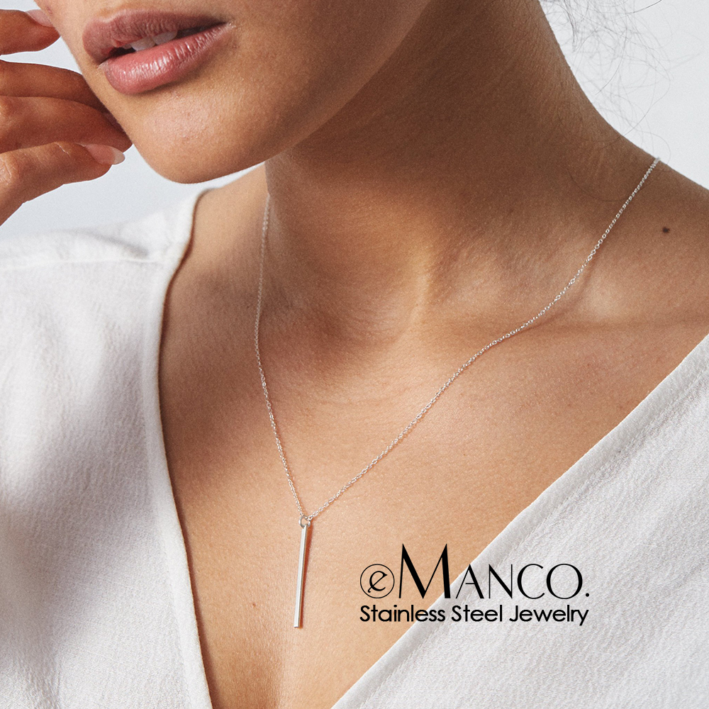eManco 316L Stainless Steel Necklace women Layered Gold-color Chain Necklace sets Crystal Pendants Necklaces for women