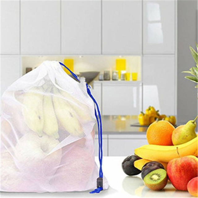 5 Pcs/Set Food Grade Safety and Environmental Protection Reusable Bags Black Rope Mesh Storage Vegetable & Fruit & Grocery Bags 2