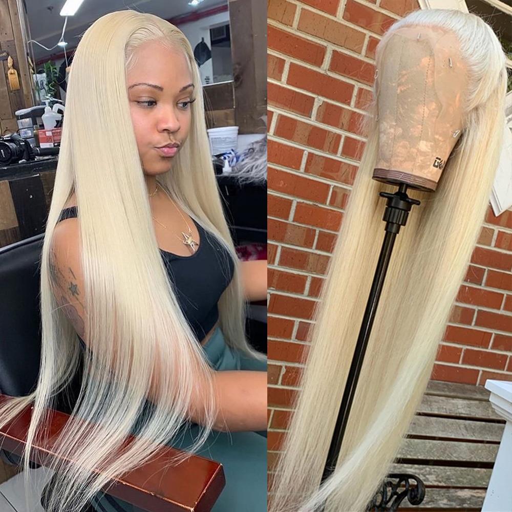 30 дюймов 613 блонд, парики из человеческих волос на фронте, парик с прямыми волосами для черных женщин, бразильский 13х1т, часть Hd, кружевной пер...