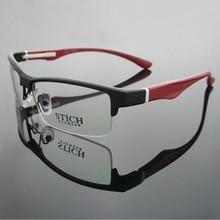 Vazrobe marka TR90 gözlük çerçevesi erkekler yarı çerçevesiz gözlük çerçeveleri erkek reçete Lens miyopi diyoptri gözlük adam
