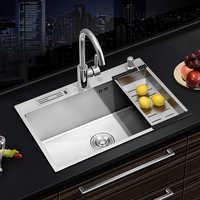 Кухонная раковина из нержавеющей стали, толстая раковина для мытья посуды, кухонная раковина, закрытый сеткой слив, ловушка для волос