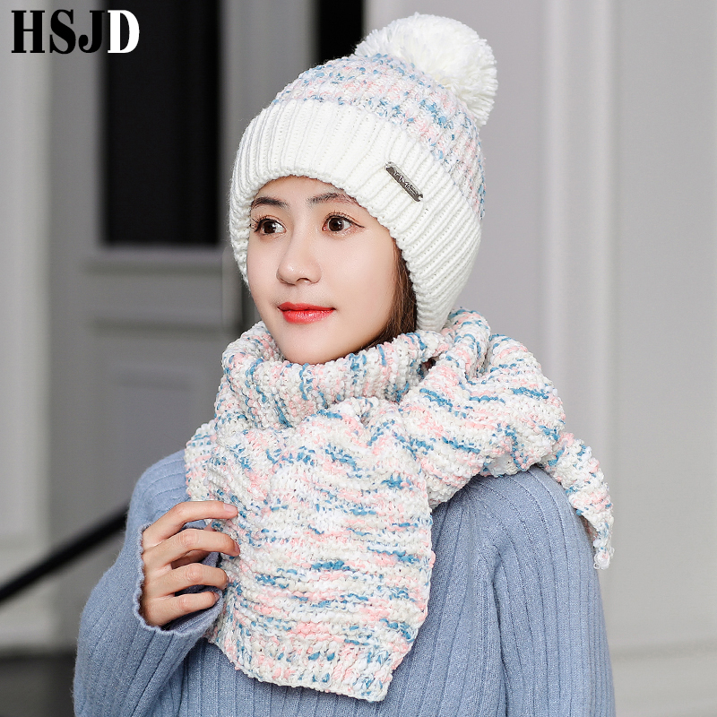2019 New Women Mixed Color Knitted Hats With Scarf Set Winter Warm Thick Lining Beanie Hat Female Skullies Snow Cap Scarves Suit