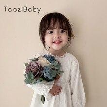 Girlsdresses Childrens Long Sleeve Girlsprincess Autumn Dresses Kids Designer Party Dresses For baby Girls White Dress