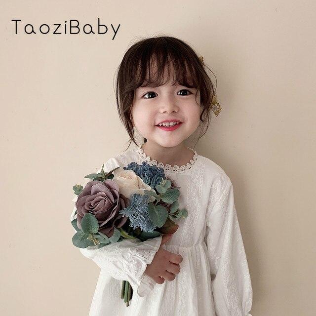Para meninas vestidos de manga longa das crianças para meninas princesa vestidos de outono crianças designer vestidos de festa para o bebê meninas vestido branco