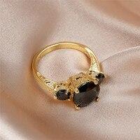 Anillo de compromiso redondo para mujer, sortija de boda, Color oro amarillo, cristal negro, Estilo Vintage